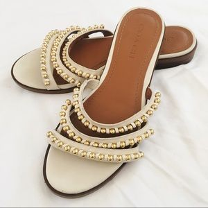Coach Gold Beaded Strappy Slide Sandals